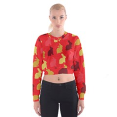 Hare Easter Pattern Animals Women s Cropped Sweatshirt by Amaryn4rt