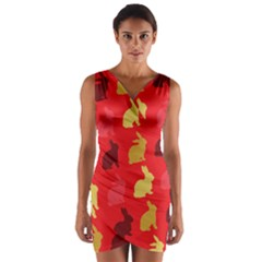 Hare Easter Pattern Animals Wrap Front Bodycon Dress by Amaryn4rt
