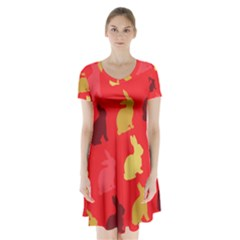 Hare Easter Pattern Animals Short Sleeve V-neck Flare Dress by Amaryn4rt