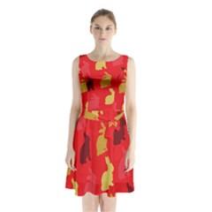 Hare Easter Pattern Animals Sleeveless Chiffon Waist Tie Dress by Amaryn4rt
