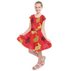 Hare Easter Pattern Animals Kids  Short Sleeve Dress by Amaryn4rt