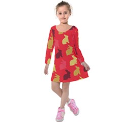 Hare Easter Pattern Animals Kids  Long Sleeve Velvet Dress by Amaryn4rt