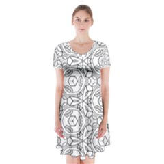 Pattern Silly Coloring Page Cool Short Sleeve V Neck Flare Dress by Amaryn4rt