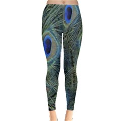 Peacock Feathers Blue Bird Nature Leggings  by Amaryn4rt
