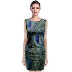 Peacock Feathers Blue Bird Nature Classic Sleeveless Midi Dress by Amaryn4rt