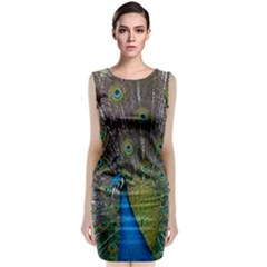 Peacock Feather Beat Rad Blue Classic Sleeveless Midi Dress by Amaryn4rt