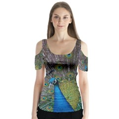 Peacock Feather Beat Rad Blue Butterfly Sleeve Cutout Tee  by Amaryn4rt