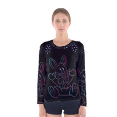 Easter Bunny Hare Rabbit Animal Women s Long Sleeve Tee by Amaryn4rt
