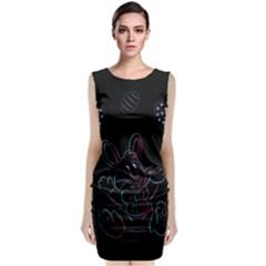 Easter Bunny Hare Rabbit Animal Sleeveless Velvet Midi Dress by Amaryn4rt