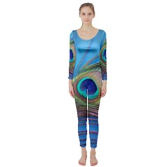 Peacock Feather Blue Green Bright Long Sleeve Catsuit by Amaryn4rt