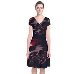 Fractal Mathematic Sabstract Short Sleeve Front Wrap Dress by Amaryn4rt