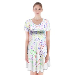 Prismatic Musical Heart Love Notes Rainbow Short Sleeve V Neck Flare Dress by Alisyart