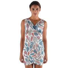 Spencer Leaf Floral Purple Pink Blue Rainbow Wrap Front Bodycon Dress by Alisyart