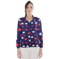 Star Red White Blue Sky Space Wind Breaker (women) by Alisyart