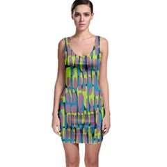 Surface Pattern Green Sleeveless Bodycon Dress by Alisyart
