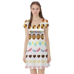 Sunflower Plaid Candy Star Cocolate Love Heart Short Sleeve Skater Dress