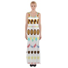 Sunflower Plaid Candy Star Cocolate Love Heart Maxi Thigh Split Dress by Alisyart