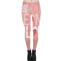 Valentines Day One Only Pink Heart Capri Leggings