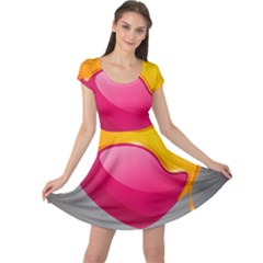 Valentine Heart Having Transparency Effect Pink Yellow Cap Sleeve Dresses