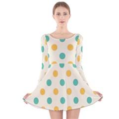 Circle Blue Orange Long Sleeve Velvet Skater Dress by Alisyart