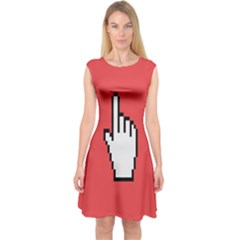 Cursor Index Finger White Red Capsleeve Midi Dress