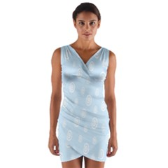 Circle Blue White Wrap Front Bodycon Dress by Alisyart