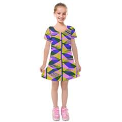 Crazy Zig Zags Blue Yellow Kids  Short Sleeve Velvet Dress