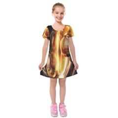Digital Art Gold Kids  Short Sleeve Velvet Dress