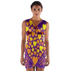 Heart Love Valentine Purple Orange Yellow Star Wrap Front Bodycon Dress