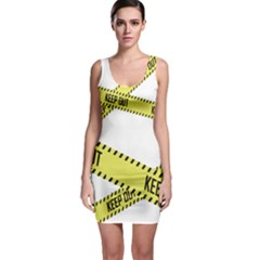 Keep Out Police Line Yellow Cross Entry Sleeveless Bodycon Dress