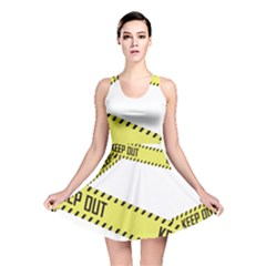 Keep Out Police Line Yellow Cross Entry Reversible Skater Dress