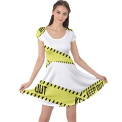 Keep Out Police Line Yellow Cross Entry Cap Sleeve Dresses