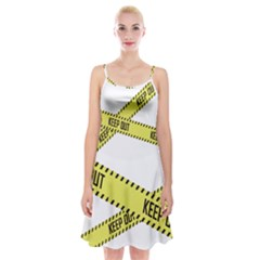 Keep Out Police Line Yellow Cross Entry Spaghetti Strap Velvet Dress by Alisyart