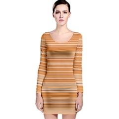 Line Brown Long Sleeve Bodycon Dress by Alisyart