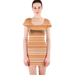 Line Brown Short Sleeve Bodycon Dress by Alisyart