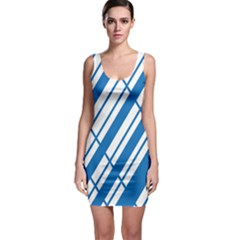 Line Blue Chevron Sleeveless Bodycon Dress by Alisyart