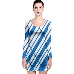 Line Blue Chevron Long Sleeve Bodycon Dress by Alisyart