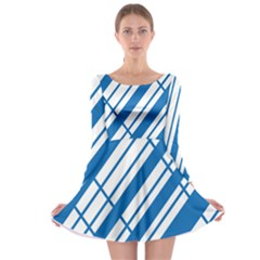 Line Blue Chevron Long Sleeve Skater Dress