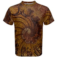 Copper Caramel Swirls Abstract Art Men s Cotton Tee