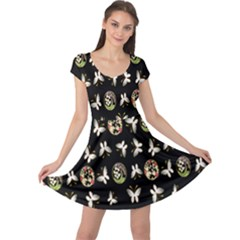 Butterfly Floral Flower Green White Cap Sleeve Dresses