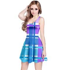 Gingham Pattern Blue Purple Shades Reversible Sleeveless Dress by Amaryn4rt