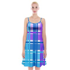 Gingham Pattern Blue Purple Shades Spaghetti Strap Velvet Dress by Amaryn4rt