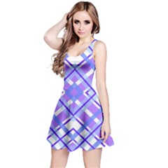 Geometric Plaid Pale Purple Blue Reversible Sleeveless Dress by Amaryn4rt