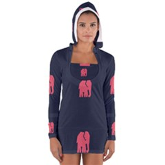 Animals Elephant Pink Blue Women s Long Sleeve Hooded T Shirt by Alisyart
