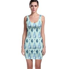 Ace Hibiscus Blue Diamond Plaid Triangle Sleeveless Bodycon Dress by Alisyart
