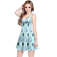 Ace Hibiscus Blue Diamond Plaid Triangle Reversible Sleeveless Dress
