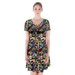 Abstract Pattern Design Artwork Short Sleeve V Neck Flare Dress by Amaryn4rt