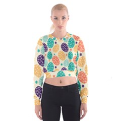 Egg Flower Floral Circle Orange Purple Blue Women s Cropped Sweatshirt by Alisyart