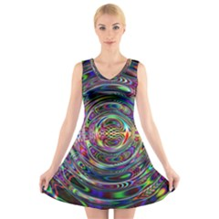 Wave Line Colorful Brush Particles V Neck Sleeveless Skater Dress by Amaryn4rt