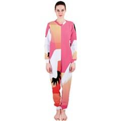 Goose Swan Pink Orange White Animals Fly Onepiece Jumpsuit (ladies)  by Alisyart